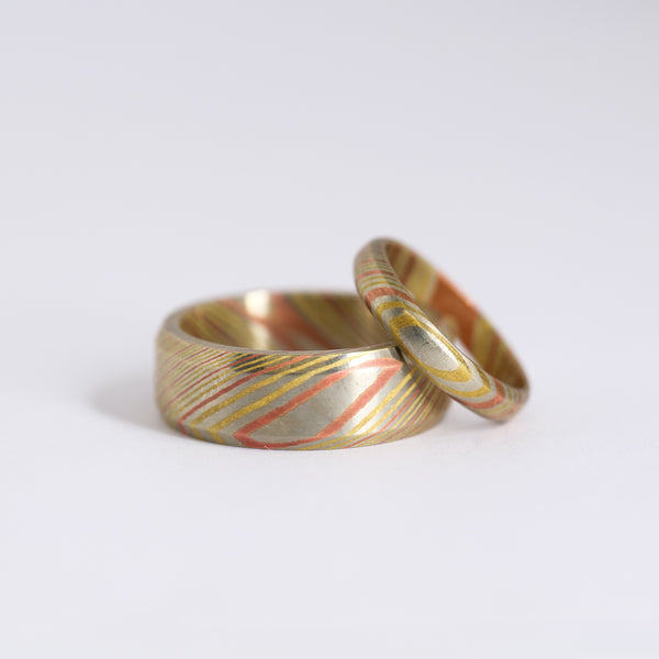 His & Hers Mokume Gane Wedding Ring Set