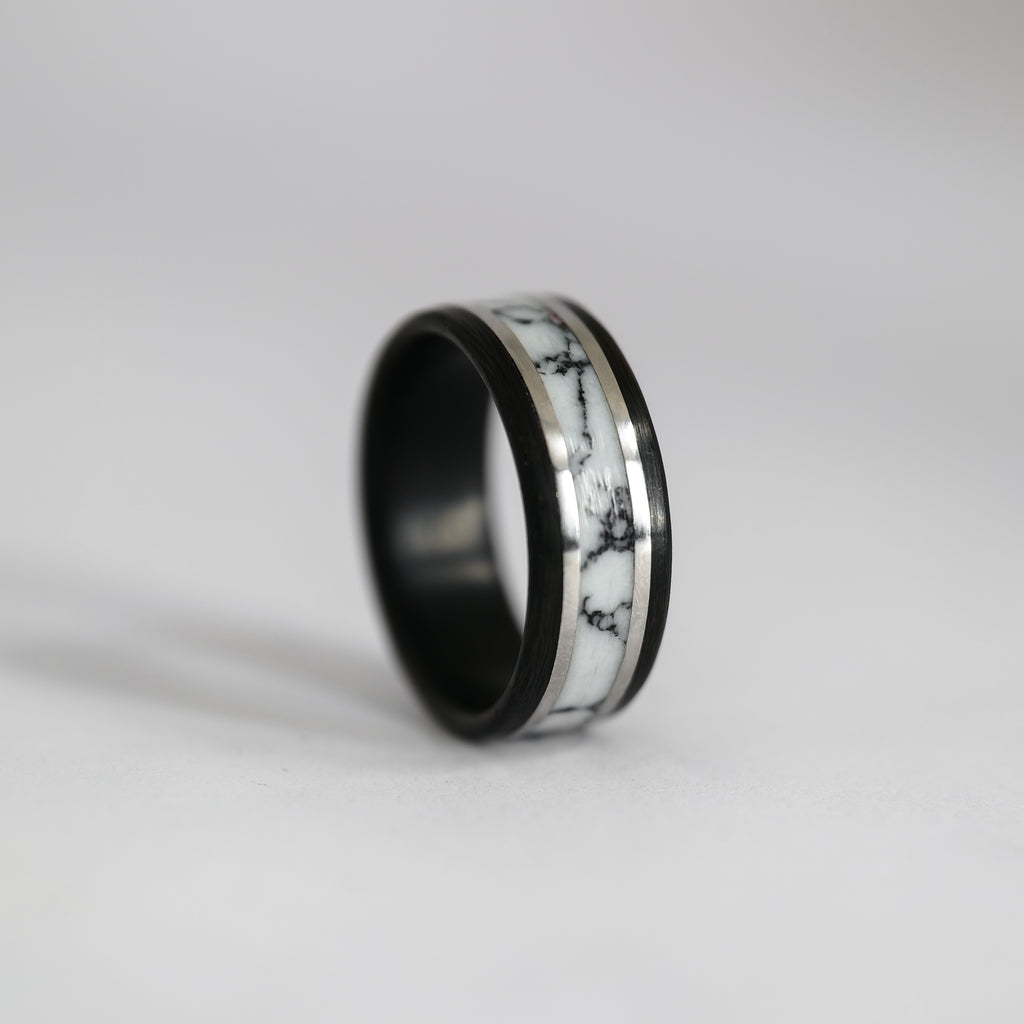The Executive - Carbon Fiber, Sterling Silver, and Marble TruStone Ring