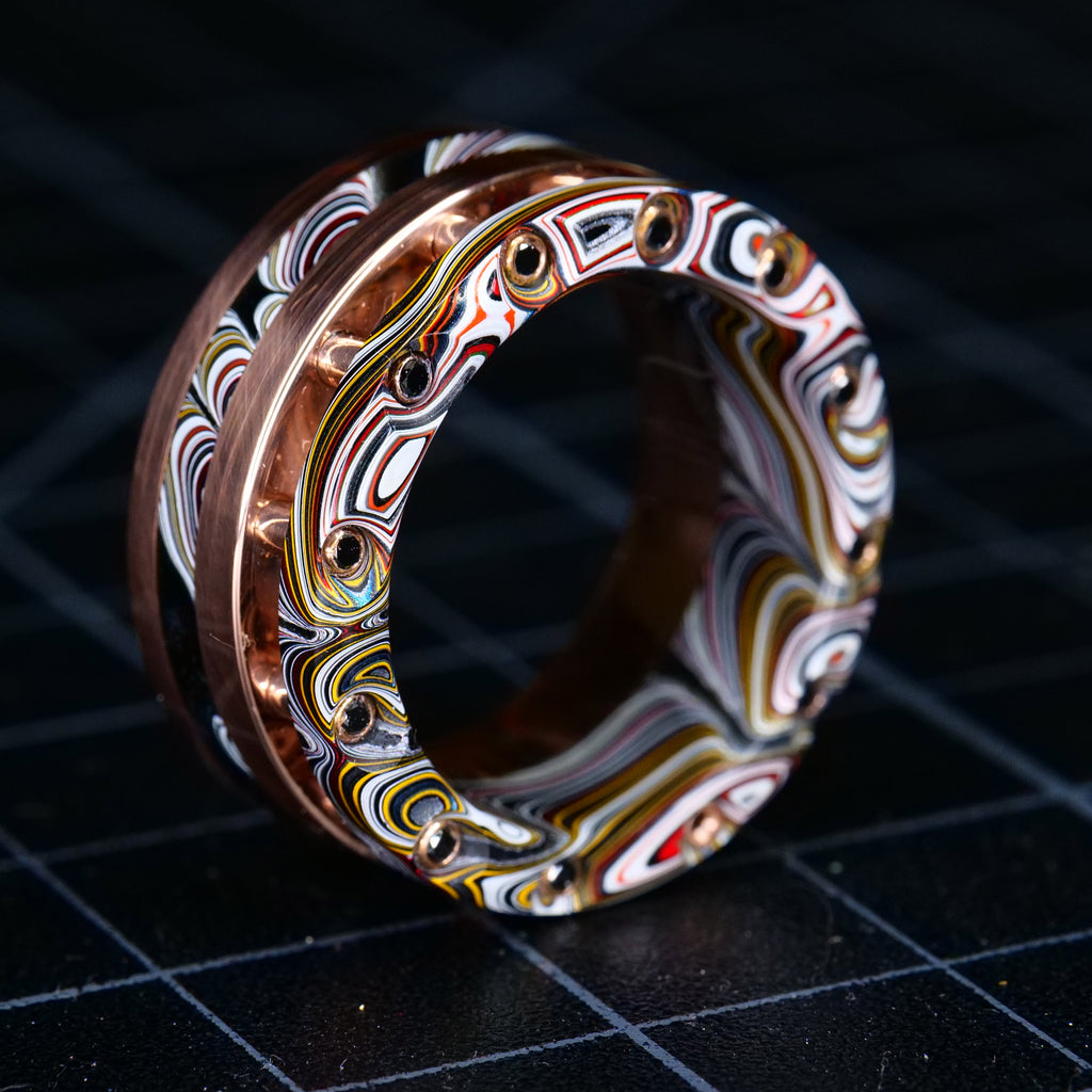 The 313 Ring - Fordite, Rose Gold, and Black Diamonds