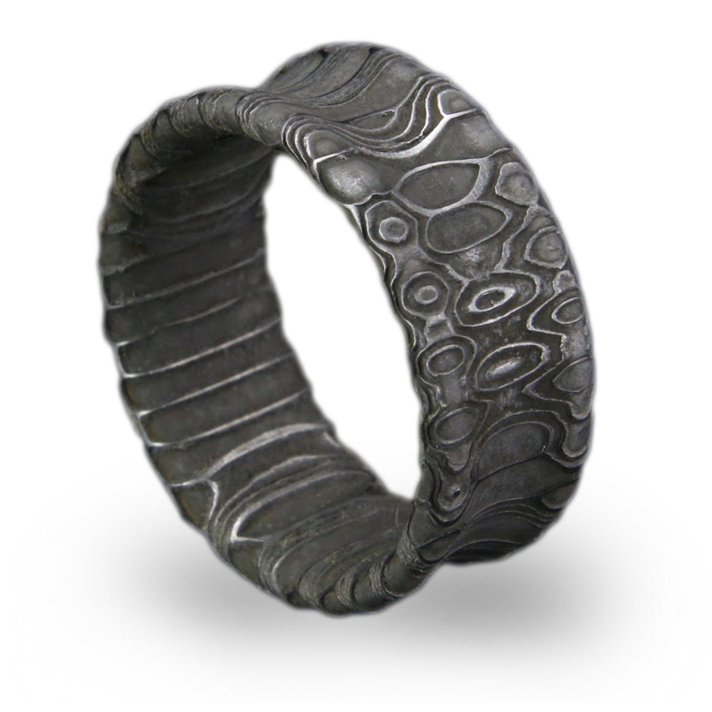 Reptilian Damascus Steel Ring