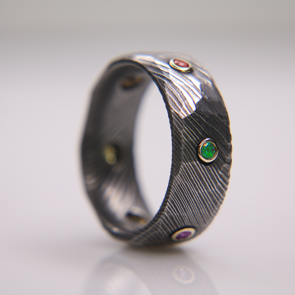 Obsidian Damascus Infinity Ring