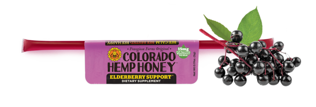 Colorado Hemp Honey - Elderberry Support Honey Stick