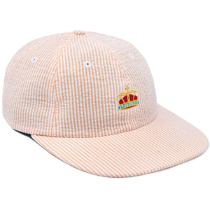 Crown Seersucker Polo Hat - Peach