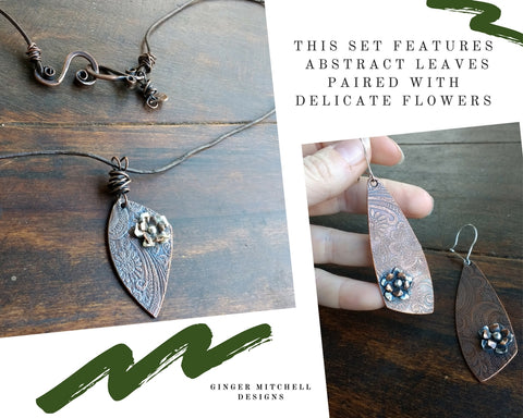 Ginger Mitchell Designs Abstract Leaves and Flowers Earrings and Necklace set