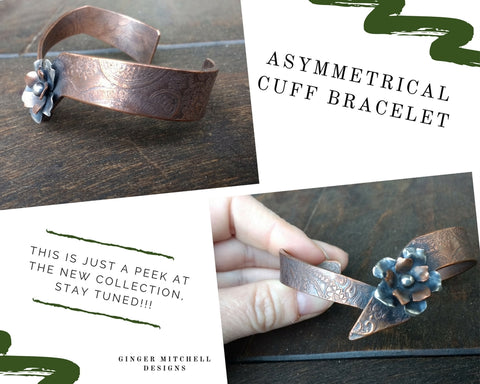 Ginger Mitchell Designs Asymmetrical Cuff Bracelet With Flowers