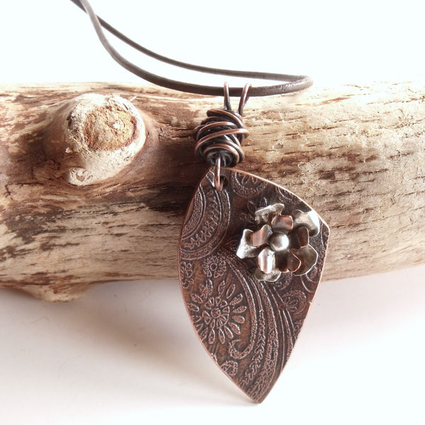 Abstract Triangle with Wild Rose Necklace Copper and Sterling Silver Pendant