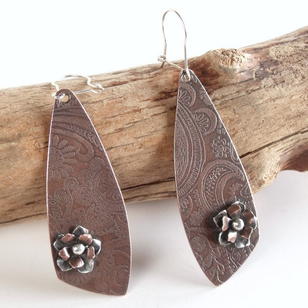Abstract Triangle with Wild Roses Earrings Copper and Sterling Silver
