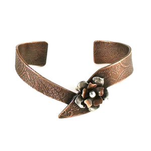 Wild Rose Asymmetric Cuff Bracelet Copper Base with Copper and Sterling Silver Flower