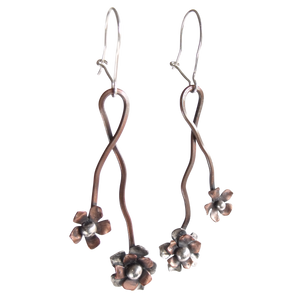 Wild Rose Vine Earrings Copper with Sterling Silver