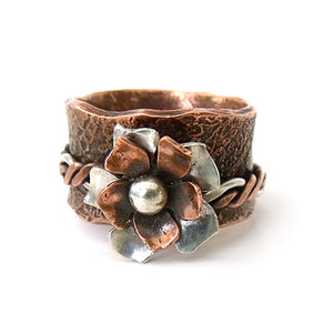 Wild Rose Spinner Ring Fidget Ring Copper Base Copper and Sterling Silver Twisted Spinner and Flower