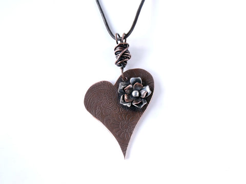 Hearts and Flowers Romantic Copper Necklace with Copper and Sterling Silver Flower