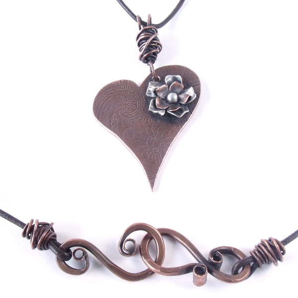 Hearts and Flowers Romantic Copper Necklace with Copper and Sterling Silver Flower and Hand Hammered Clasp