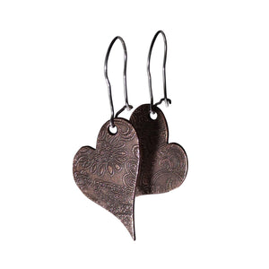 Simple Copper Heart Shaped Dangle Earrings