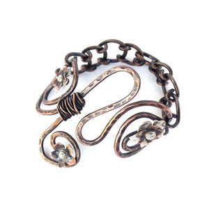 Three Flowers Boho Bracelet Copper Sterling Silver