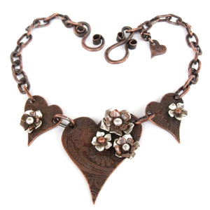 Ginger Mitchell Designs Three Hearts Bib Statement Necklace