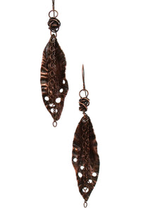 Fall Leaf Earrings Handcrafted Hand Hammered Copper