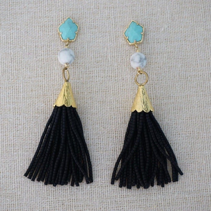 Teal + Black Tassel Earrings
