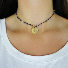 Blue + Gold Coin Choker