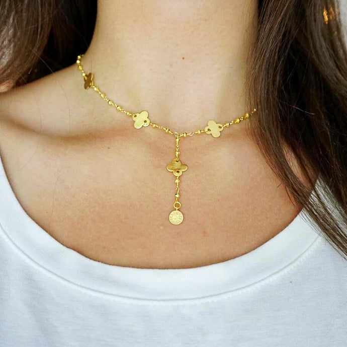 Gold Quatrefoil Necklace