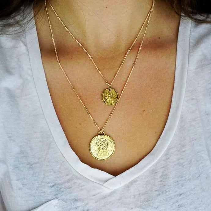 Gold Coin Layer Necklace