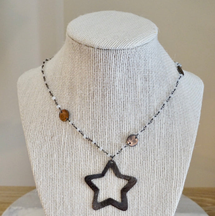 Gunmetal Star Necklace