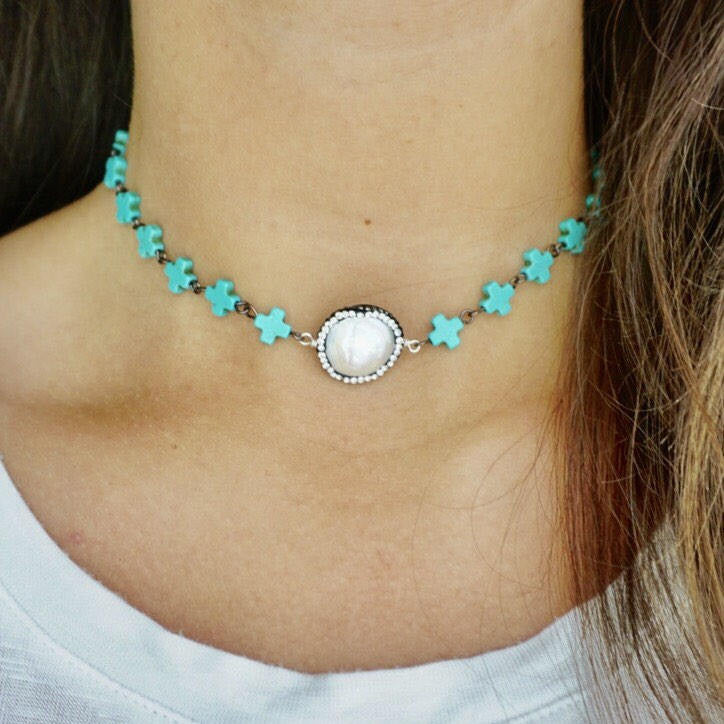 Turquoise + Pearl Choker
