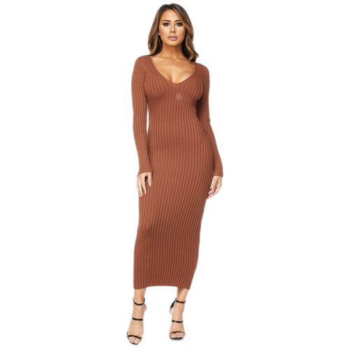 LONG SLEEVE RIBBED MIDI | DRESS