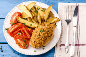 Mozzarella Crusted Chicken  With Roasted Tomatoes and Potato Wedges (2 Meals)
