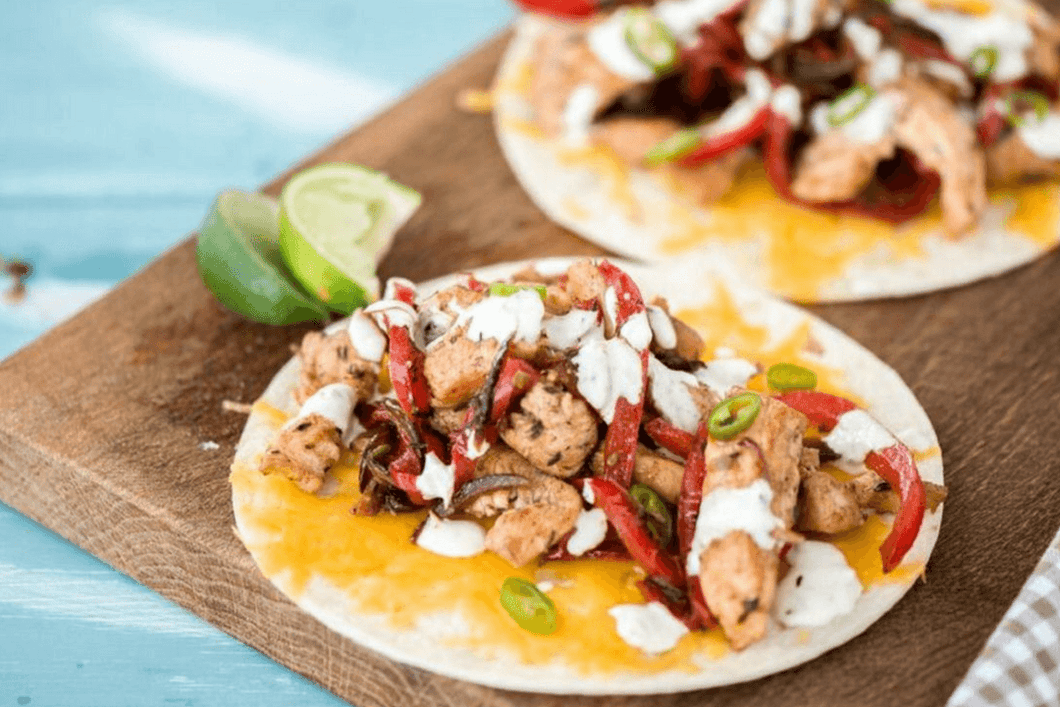 Smoky Chicken Fajitas with Charred Pepper and Onion and Garlic-Lime Crema (2 Meals)
