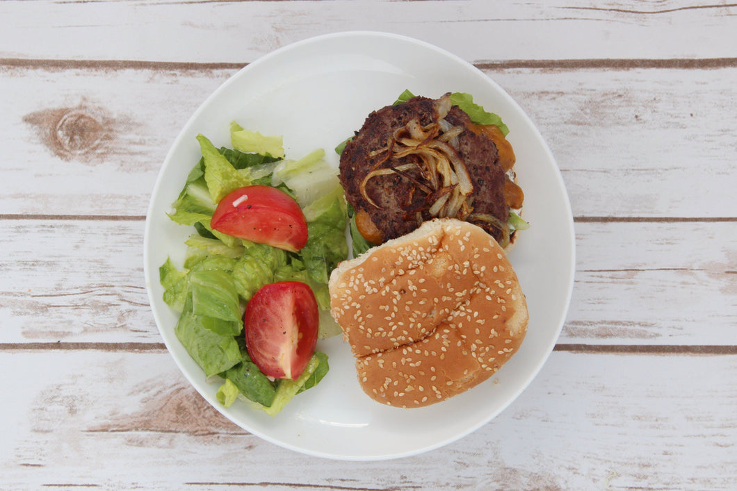 Juicy Lucy Burger w/ Caramelized Onions and Romaine-Tomato Salad (2 Meals)