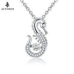JO WISDOM Sterling Silver Seahorse Pendant & Necklace with Dancing Stone