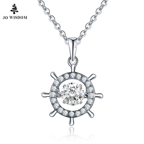 JO WISDOM Sterling Silver Sun Pendant & Necklace with Dancing Stone