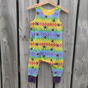 Rainbow hive Dungarees 9-12 months
