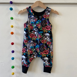 Floral wars dungarees 3-6 months