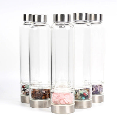 Natural Quartz Crystal Glass Water Bottle