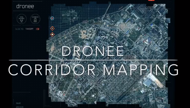 "Dronee - ""Corridor Mapping"" feature makes  roads ,borders,electric lines  survey easier."