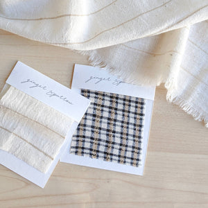 Handwoven Textile by Ginger Sparrow, a modern home decor brand. Featuring a soft ivory ground with fawn colored striped weave. Light and airy its perfect for #windowshades #drapes #livingroomdecor #bedroomideas