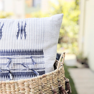 White and Indigo pillow combination for bedroom design and living room decor ideas using 18x18 inch, 16x24 inch pillows featuring traditional Indian tribal motifs in indigo. Handcrafted by Ginger Sparrow, a modern home decor brand. Perfect for #livingroomdesign and #bedroomdecorideas