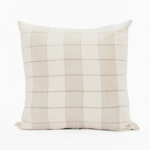 Throw pillow by Ginger Sparrow, a modern handcrafted home decor brand. The pillow features a soft ivory and dusty sage base with air geometric lines in a grid pattern.