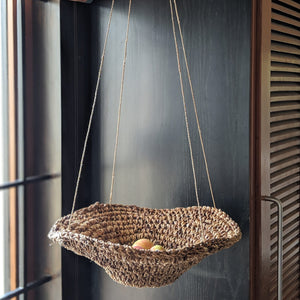 Hanging fruit basket made from banana fiber