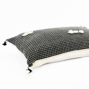 The Bari, double-sided pillow, is great for bedroom combinations in soft ivory and black. Soft neutral with dark tones to add depth, by Ginger Sparrow, a modern handcrafted home decor brand.