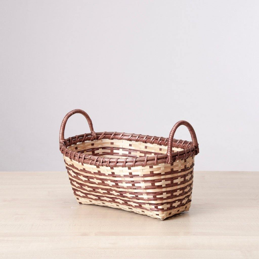 Bamboo Gift Baskets in a rust and ivory fall decor palette. Handcrafted by Ginger Sparrow, an artisan made home decor brand. #giftbasket #giftbox