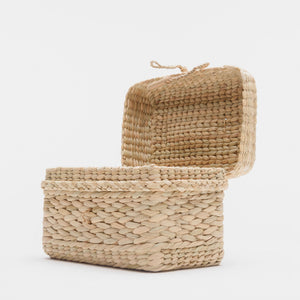 Watergrass Gift Baskets or a desk and shelf stash-all in a light buttery golden hue. Handcrafted by Ginger Sparrow, a modern home decor brand. #giftbasket #giftbox