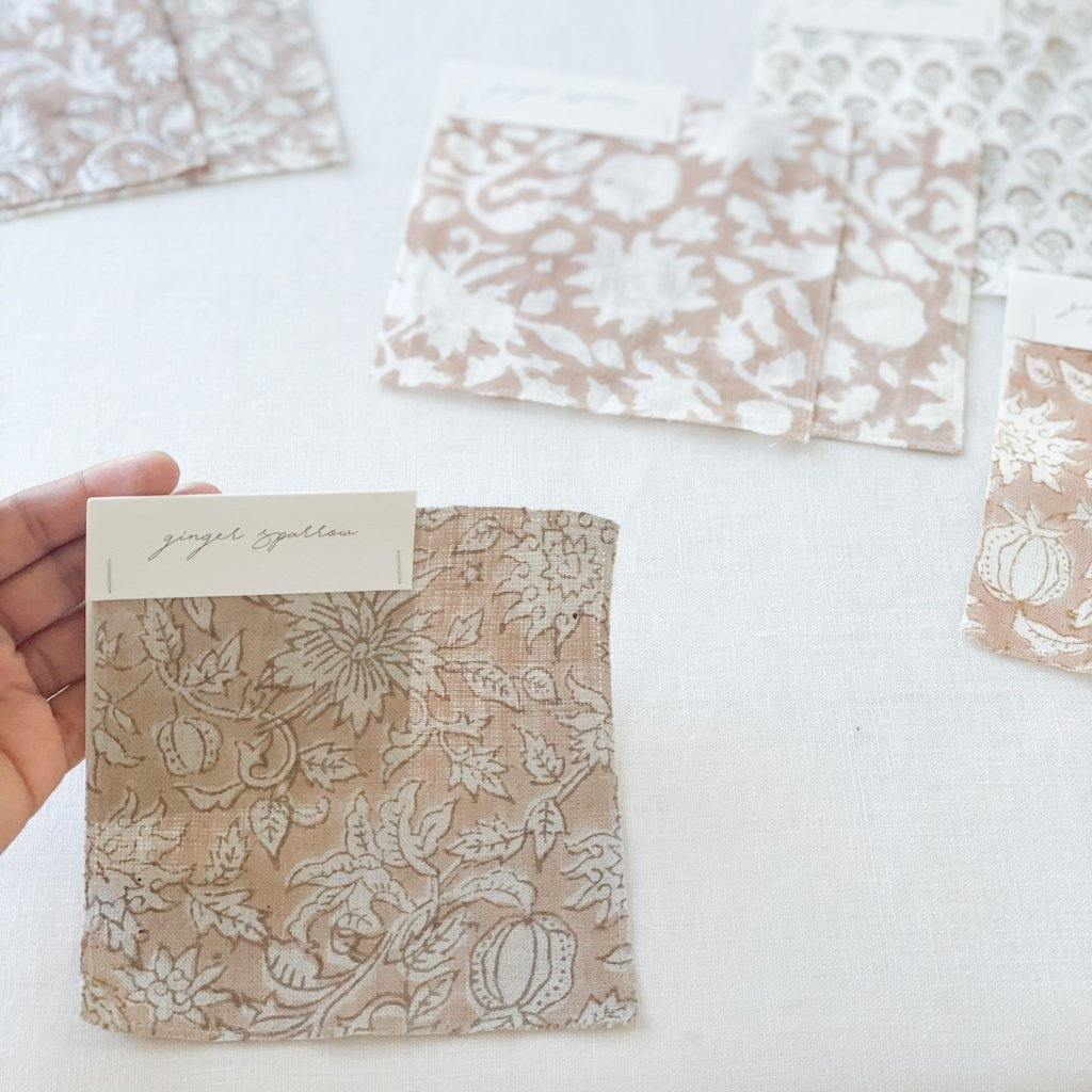 Featuring a delicate floral pattern handblock printed using traditional printing techniques, we love the soft color and texture that gives this fabric so much character. Made using incredibly soft linen, it is a bit of modern, a bit of boho and loads of warmth. We're dreaming of these for farmhouse style spaces filled with light and greenery.
