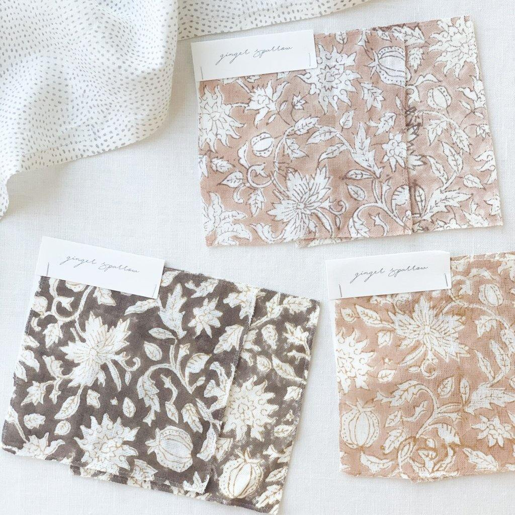 Featuring a delicate floral pattern hand block printed using traditional printing techniques, we love the soft color and texture that gives this fabric so much character. Made using incredibly soft linen, it is a bit of modern, a bit of boho, and loads of warmth. We're dreaming of these for farmhouse style spaces filled with light and greenery.