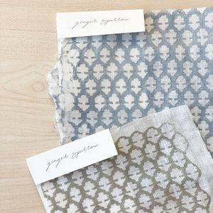 Hand block printed Textile by Ginger Sparrow, a modern home decor brand. Featuring a delicate floral pattern in three color options - olive grey, tan and pale blue. Light and airy its perfect for #throwpillows #drapes #livingroomdecor #bedroomideas #upholsteryfabric #fabricbytheyard