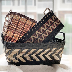 Bamboo storage organizers or gift baskets in a rust, ivory and black palette. Handcrafted by Ginger Sparrow, an artisan made home decor brand. #giftbasket #holidaygiftideas