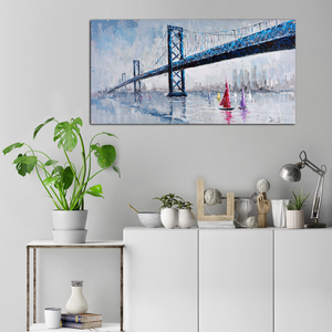 Blue Bridge Seascape Painting - paintingsonline.com.au