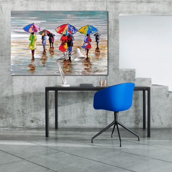 Rainy Beach Oil Painting On Metalic Canvas - paintingsonline.com.au