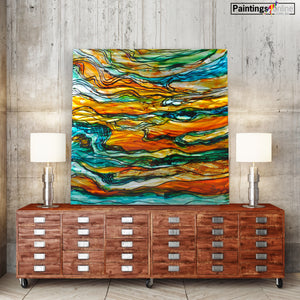 Oil Abstract in green on Metal canvas - paintingsonline.com.au